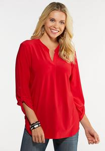 Plus Size Solid Scrunch Sleeve Top