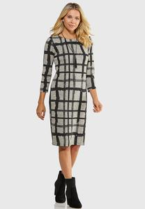 Plus Size Plaid Hacci Midi Dress