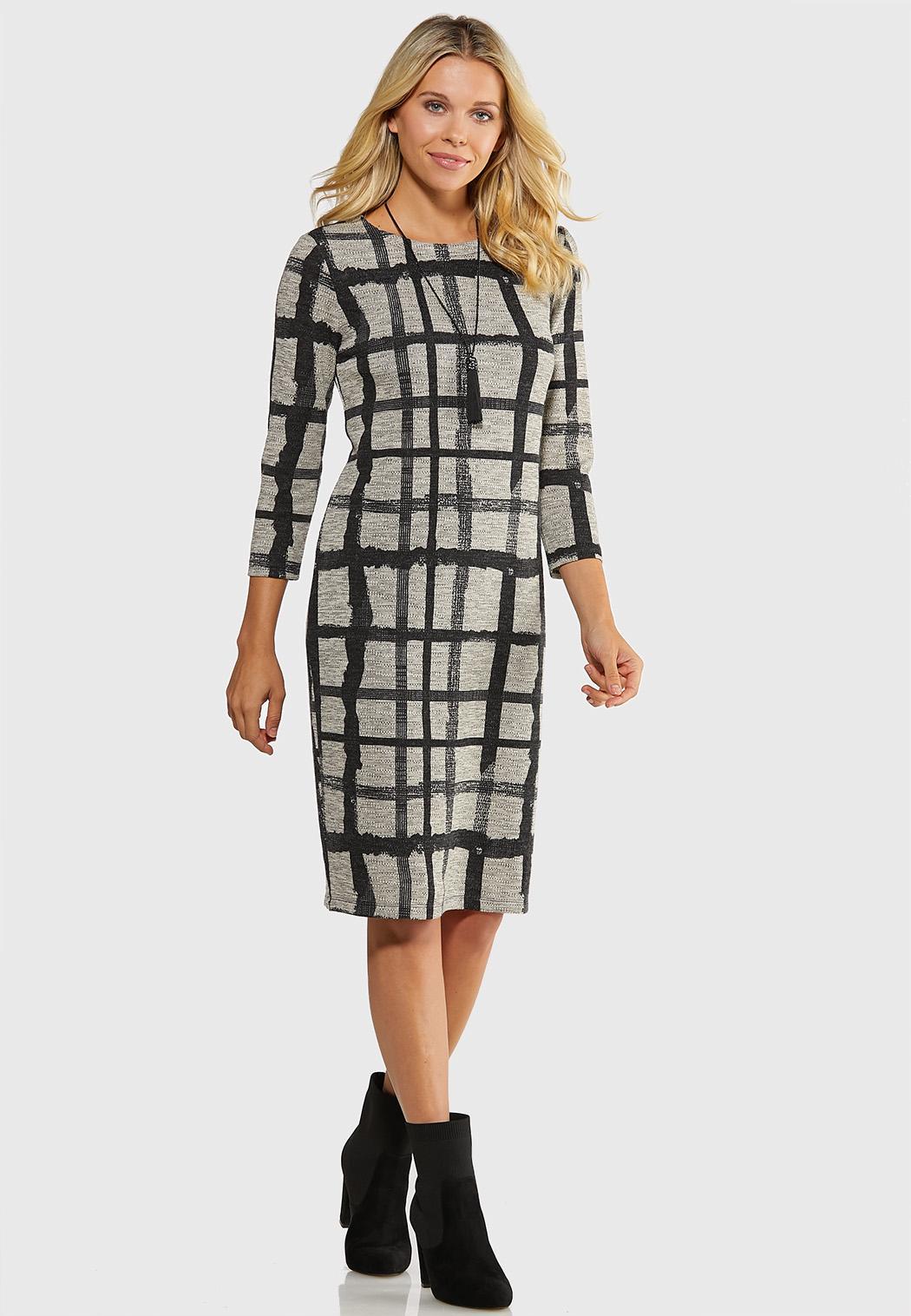 Plus Size Plaid Hacci Midi Dress Plus Sizes Cato Fashions