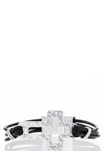 Layered Cord Cross Bracelet