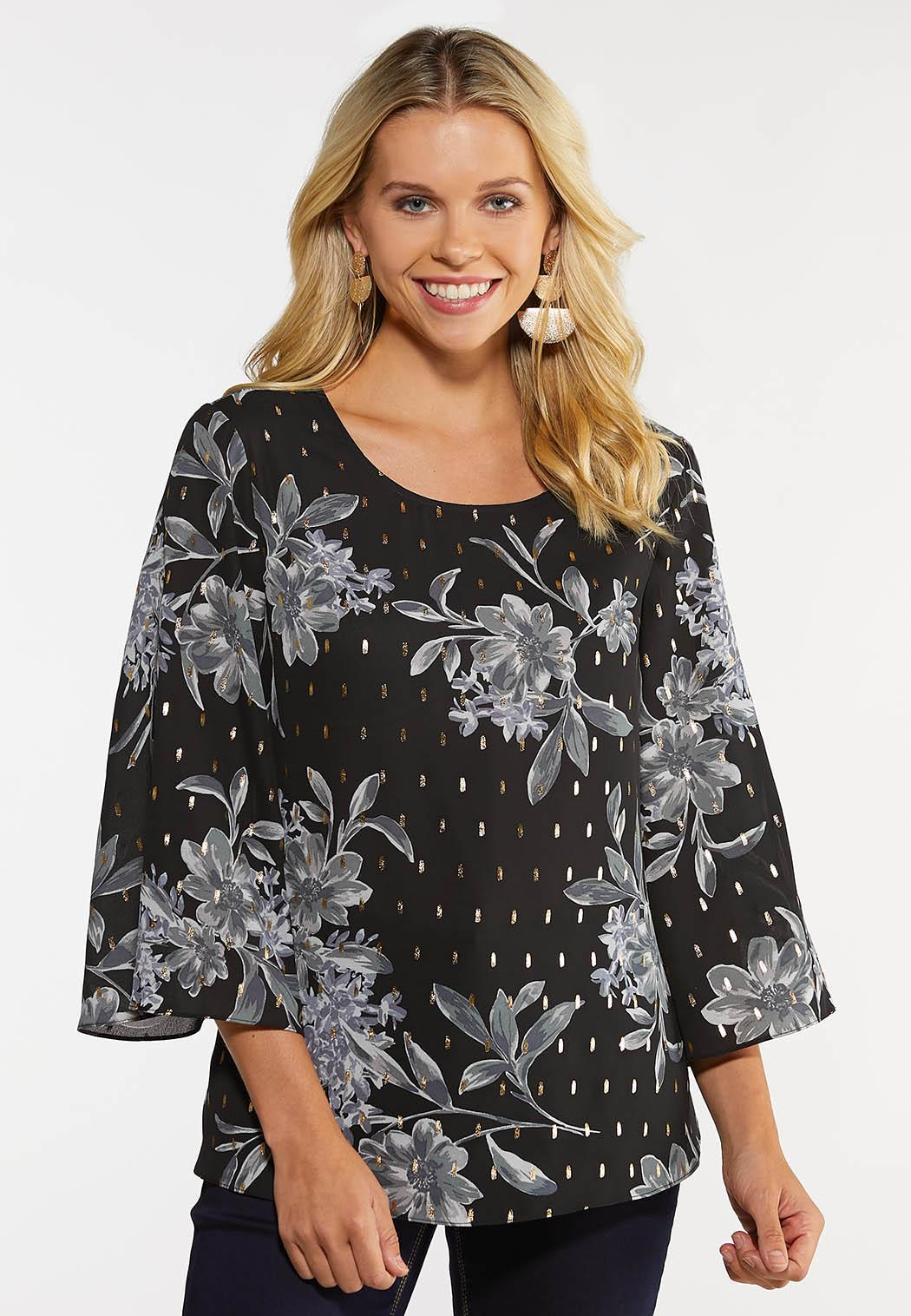 Gray Floral Pullover Top