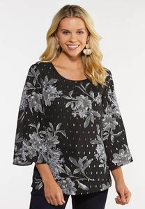 Plus Size Gray Floral Pullover Top