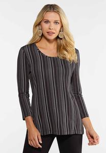 Plus Size Dashing Stripe Top