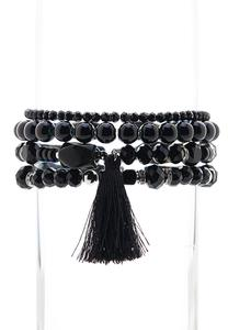 Black Tassel Bracelet Set