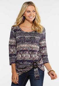 Plus Size Buckle Twist Printed Top
