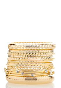 Gold Bangle Stack Bracelet Set