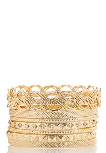 Textured Gold Bangle Set