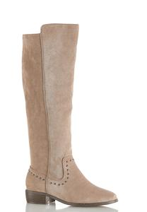 Wide Width Faux Suede Riding Boots