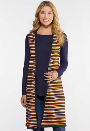 Plus Size Navy Stripe Vest