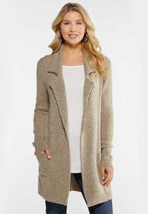 Plus Size Taupe Cardigan Sweater
