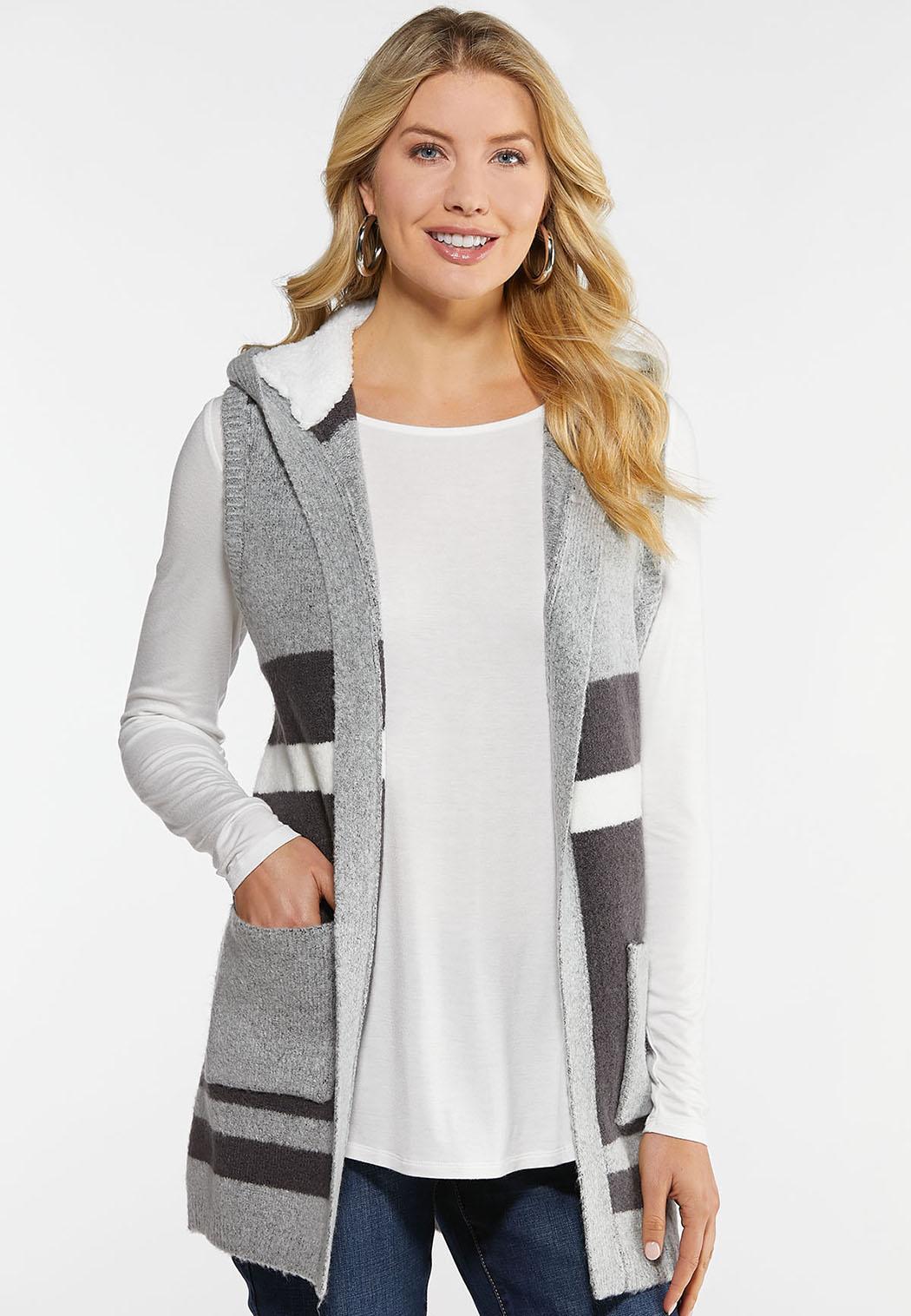 Plus Size Colorblock Hooded Vest