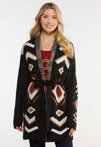 Aztec Belted Cardigan