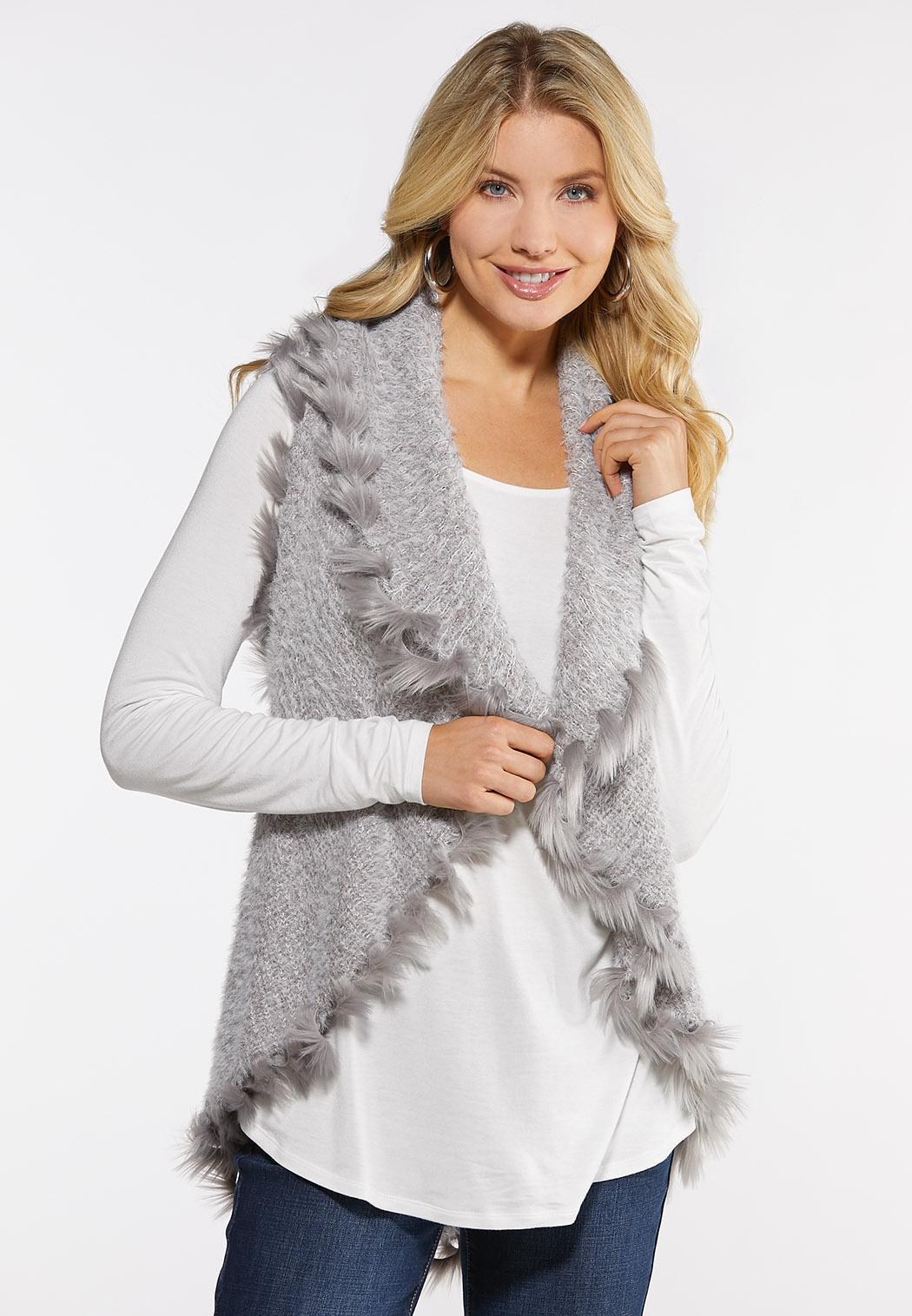 Plus Size Fuzzy Trimmed Vest