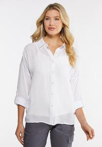 Plus Size White Smocked Shoulder Top