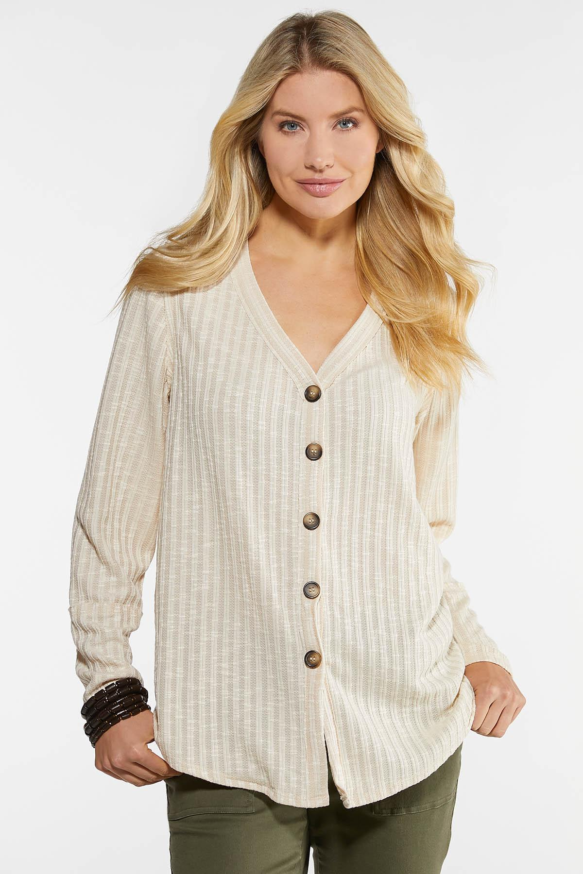 Plus Size Ribbed Button Down Top