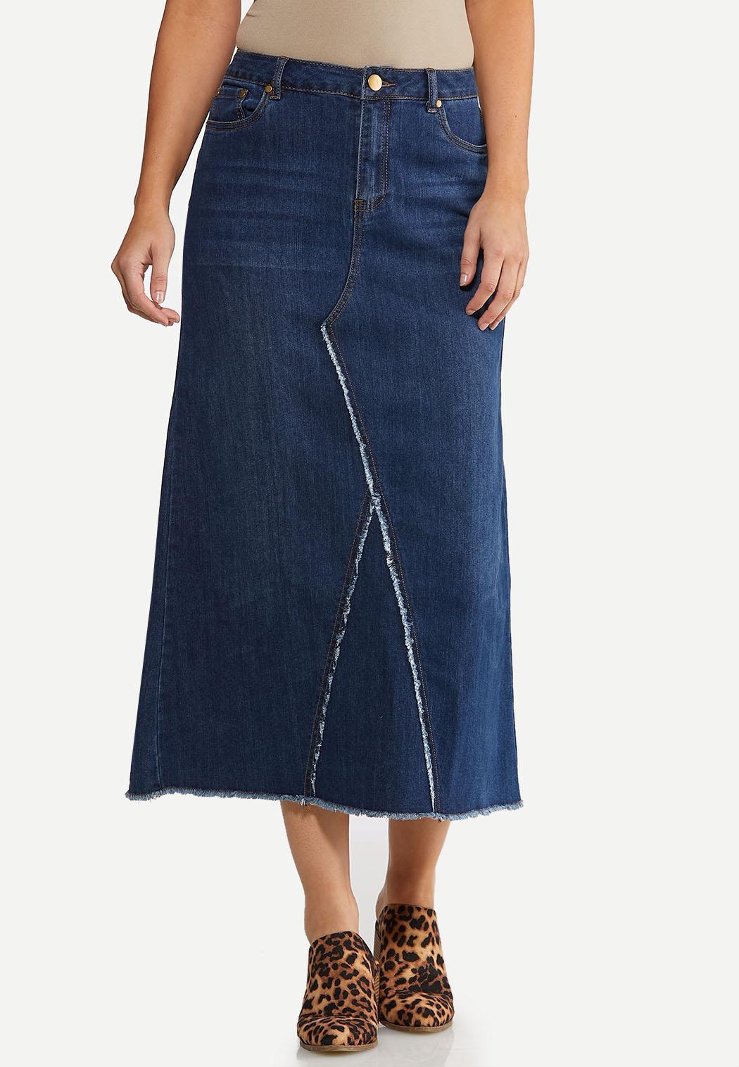 Plus Size Stitch Denim Skirt