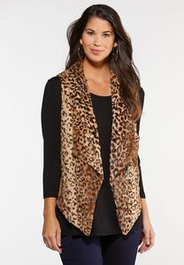 Plus Size Leopard Fur Vest