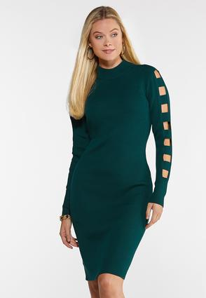 Plus Size Ladder Sleeve Sweater Dress