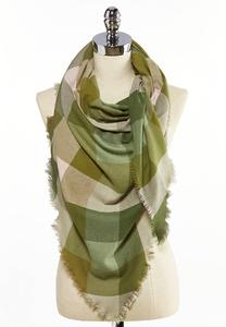 Green Pink Checkered Triangle Scarf