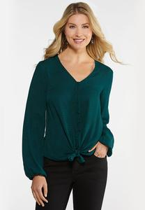 Plus Size Green Button Tie Front Top