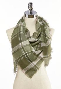 Green Plaid Triangle Scarf