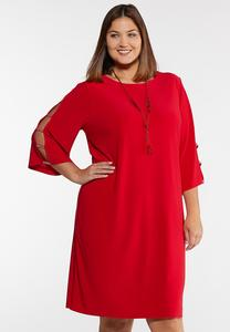 Plus Size Rhinestone Ladder Sleeve Shift Dress
