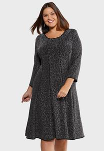 Plus Size Shimmery Fit And Flare Dress