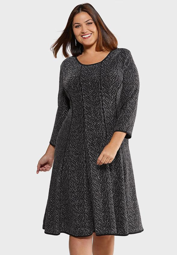 Plus Size Shimmery Fit And Flare Dress A- Line & Amp ; Swing Cato Fashions