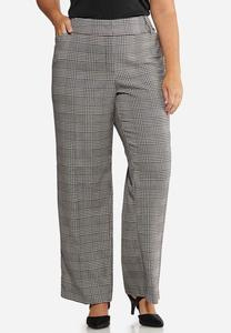 Plus Size Curvy Plaid Trouser Pants