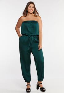 Plus Size Satiny Green Jumpsuit