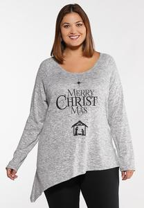 Plus Size Merry Christmas Graphic Top