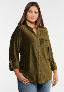 Plus Size Corduroy Button Front Top