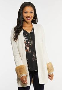 Plus Size Fur Trim Cardigan