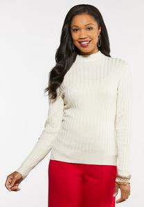 Plus Size Ribbed Mock Neck Sweater