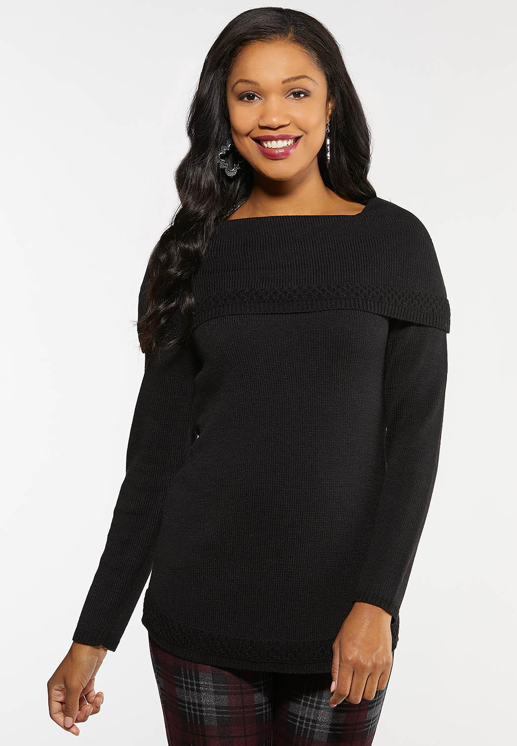 Plus Size Off The Shoulder Tunic Sweater
