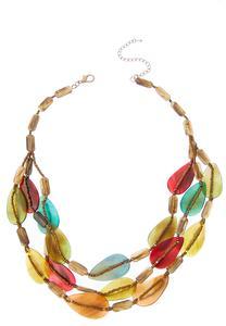 Triple Row Multi Bead Necklace