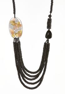 Lucite Side Pendant Layered Necklace
