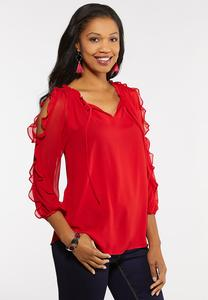 Plus Size Red Ruffled Sleeve Top