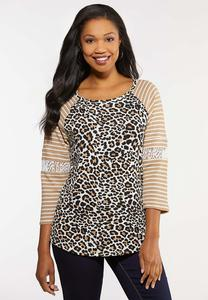Plus Size Lace Leopard Baseball Top