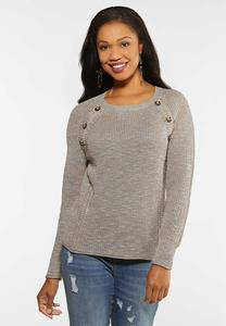 Plus Size Brown Button Sweater