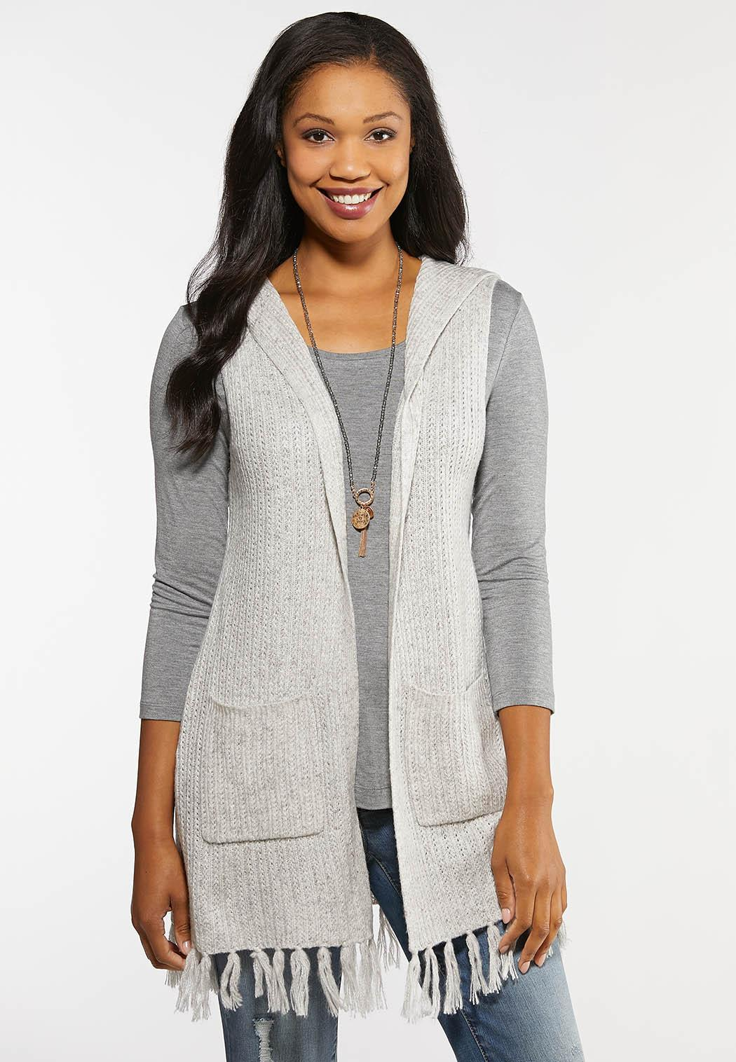 Plus Size Fringed Hem Sweater Vest