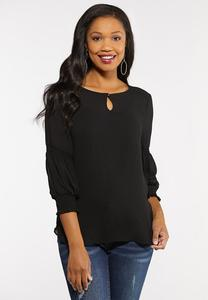 Plus Size Crushed Satiny Smocked Top