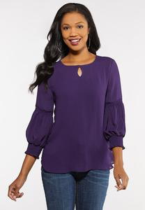 Crushed Satiny Smocked Top
