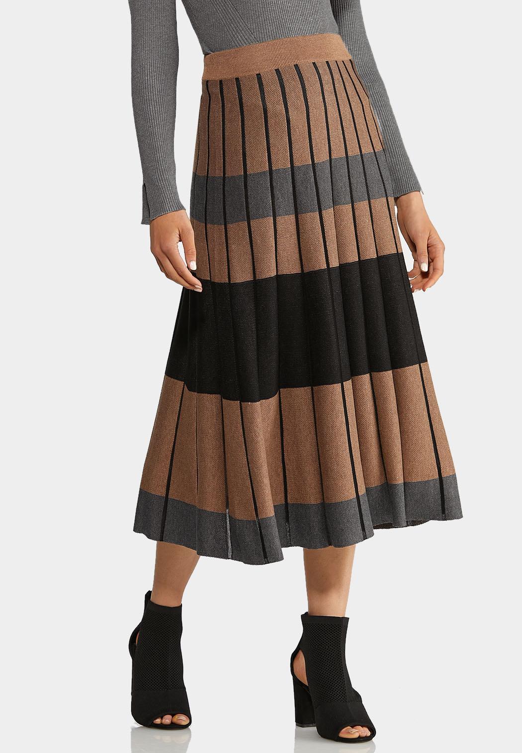 Plus Size Striped Sweater Skirt