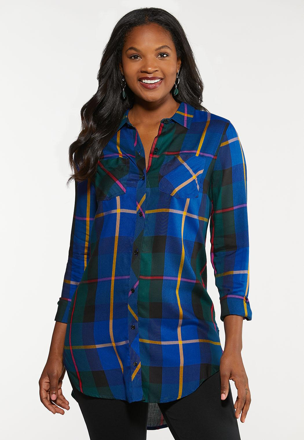 Plus Size Royal Blue Plaid Tunic