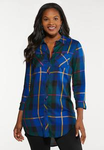 Plus Size Royal Blue Plaid Tunic