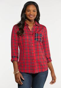 Plus Size Contrast Plaid Top