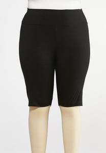 Plus Size Black Stretch Shorts