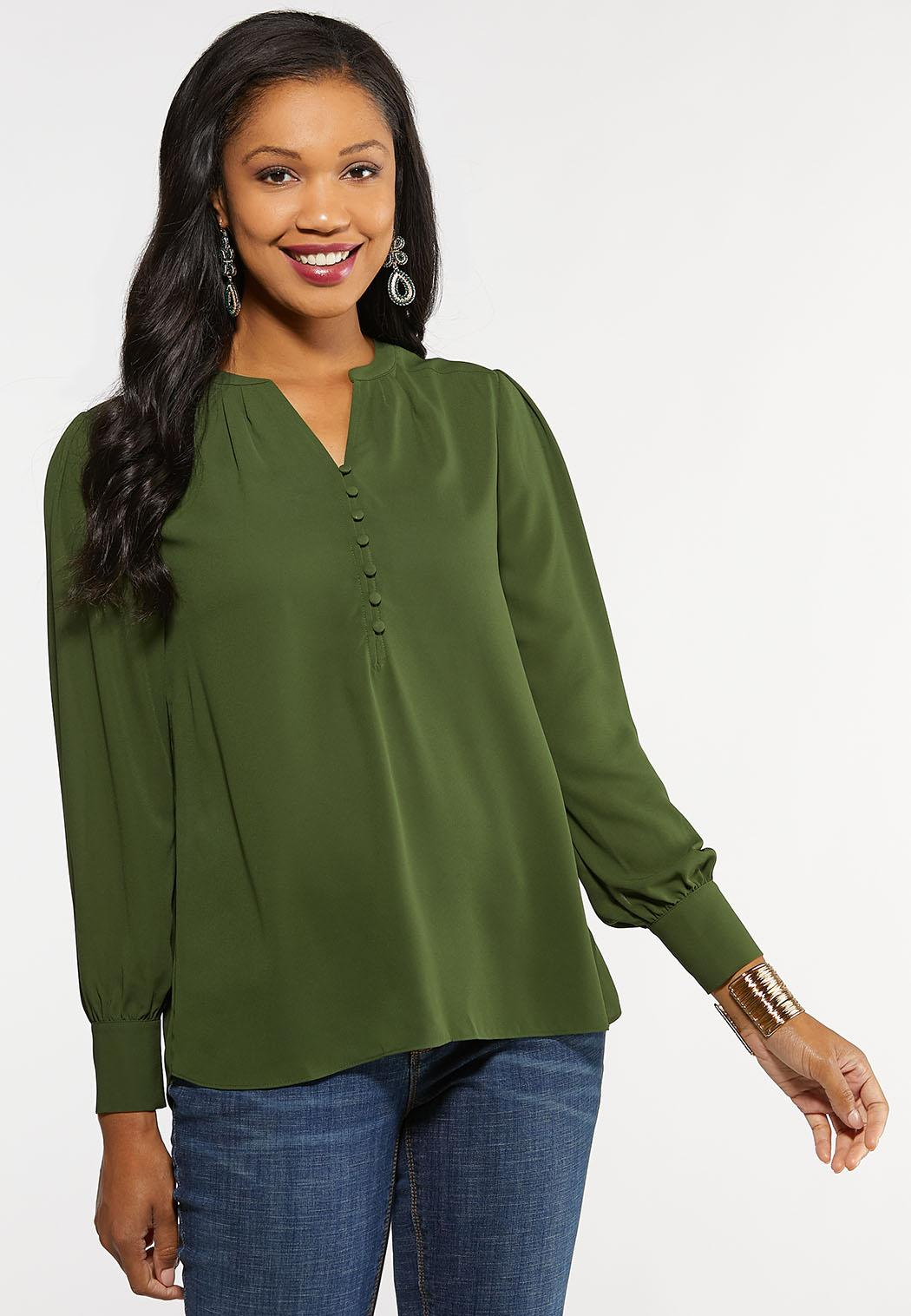 Plus Size Button High Low Top