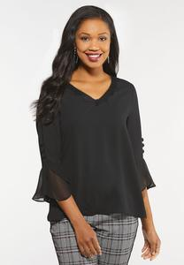Plus Size Chiffon Bell Sleeve Top